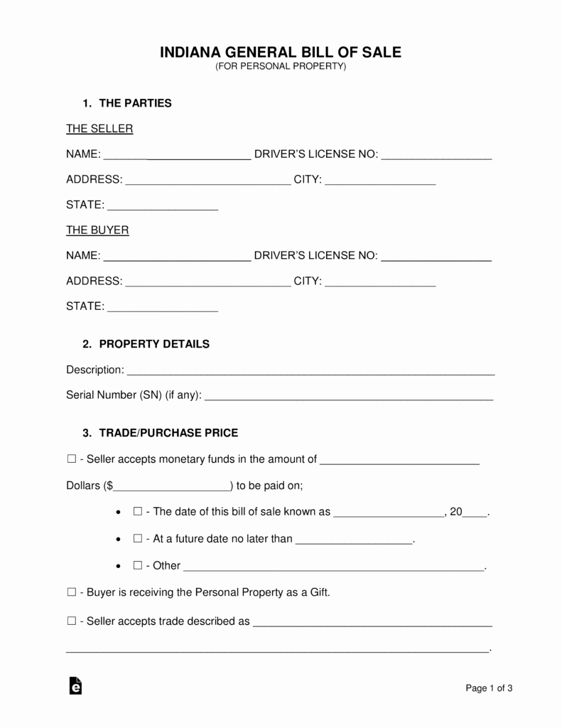 General Bill Of Sale Pdf Inspirational Free Indiana General Bill Of Sale form Word
