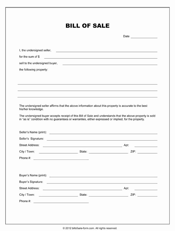 General Bill Of Sale Pdf Inspirational Printable Sample Equipment Bill Sale Template form