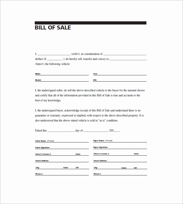 General Bill Of Sale Pdf Unique Biil Of