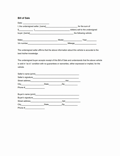 General Bill Of Sale Pdf Unique General Bill Of Sale form Free Download Create Edit