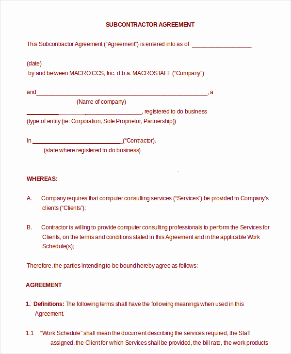 General Contractor Contract Template Awesome 12 Simple Subcontractor Agreement Templates Word Pdf