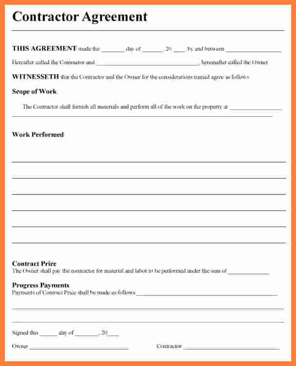 General Contractor Contract Template Elegant 7 Contractor Contract Template