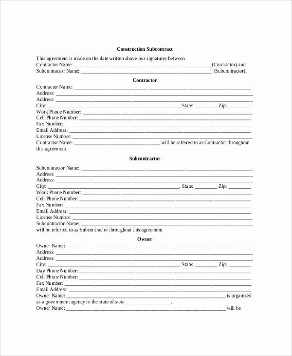 General Contractor Contract Template Fresh 9 Sample Construction Contractor Agreements Word Pdf