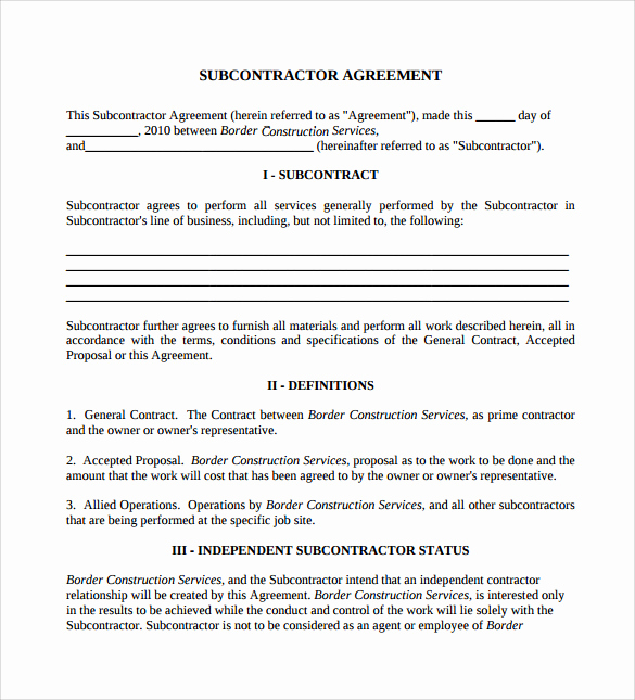 General Contractor Contract Template New 15 Sample Subcontractor Agreements