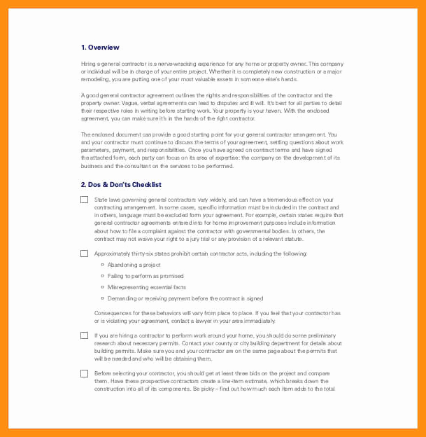 General Contractor Contract Template New 9 10 General Contractors Contract Template