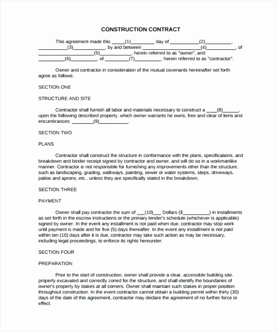 General Contractor Contract Template New General Contractor Contract – Squadr