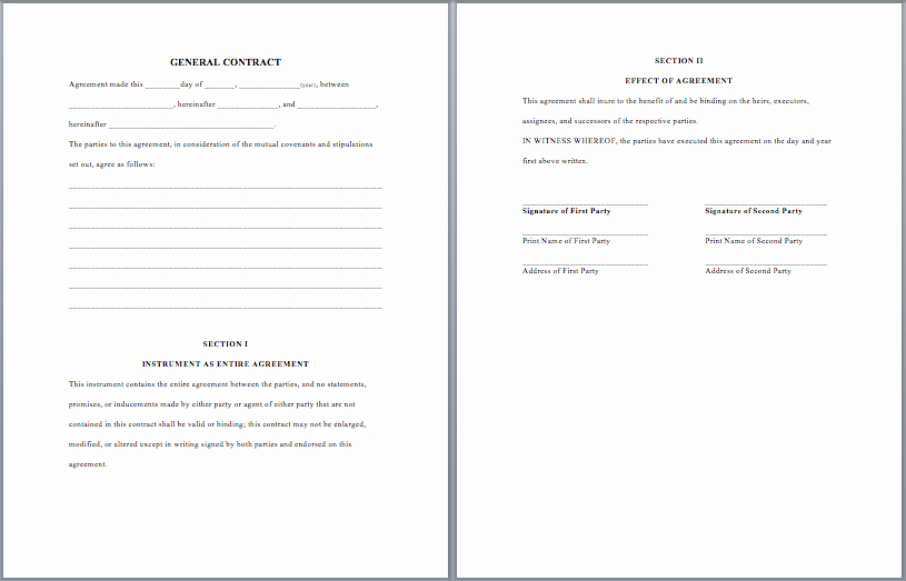 General Contractor Contract Template New General Purpose Contract Template Word Templates