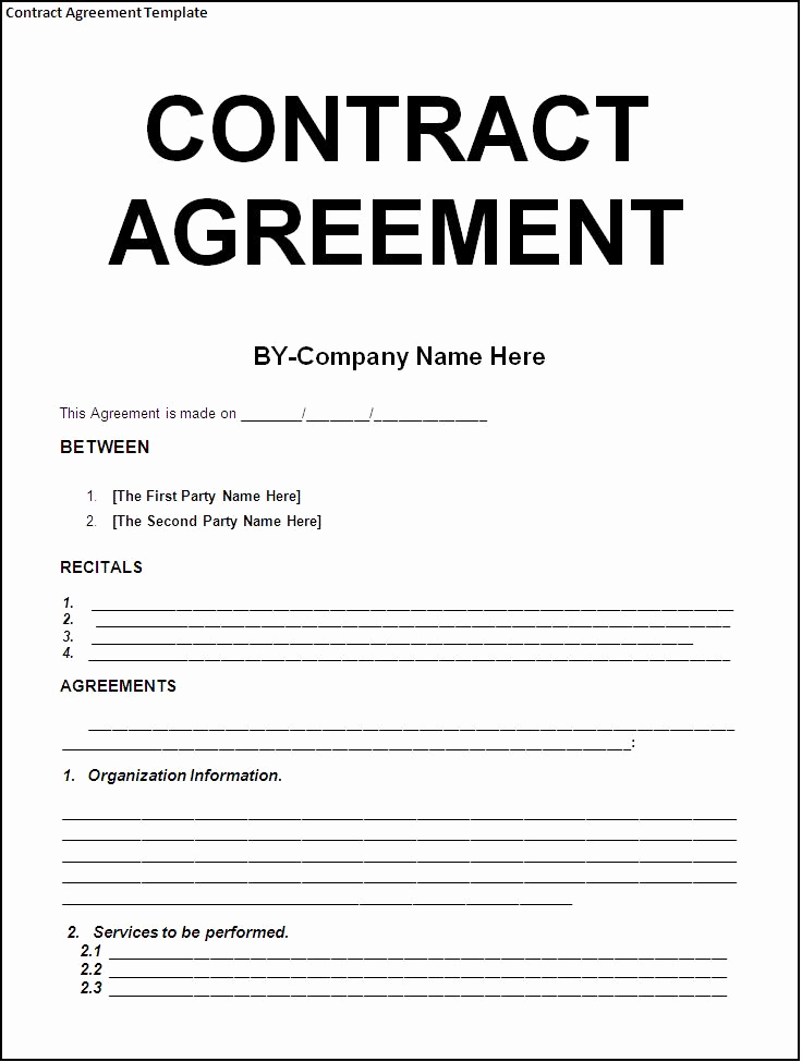 General Contractor Contract Template New Simple Template Example Of Contract Agreement Between Two