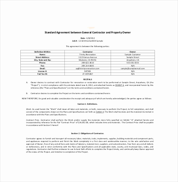 General Contractor Sample Contract Awesome Contractor Agreement Template – 23 Free Word Pdf Apple