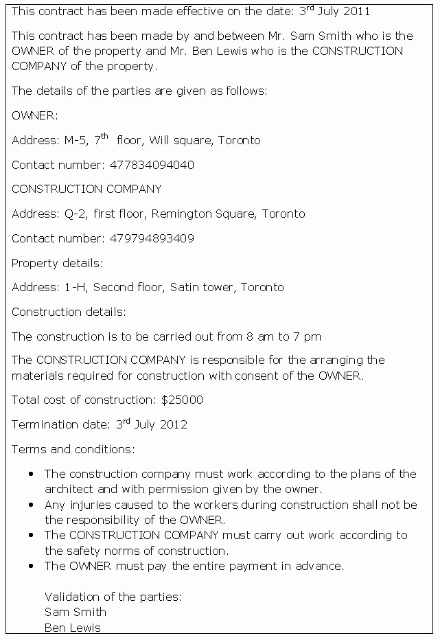 General Contractor Sample Contract Best Of General Construction Contract Sample General Construction