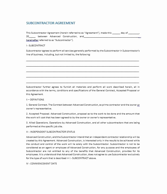 General Contractor Sample Contract Best Of Need A Subcontractor Agreement 39 Free Templates Here