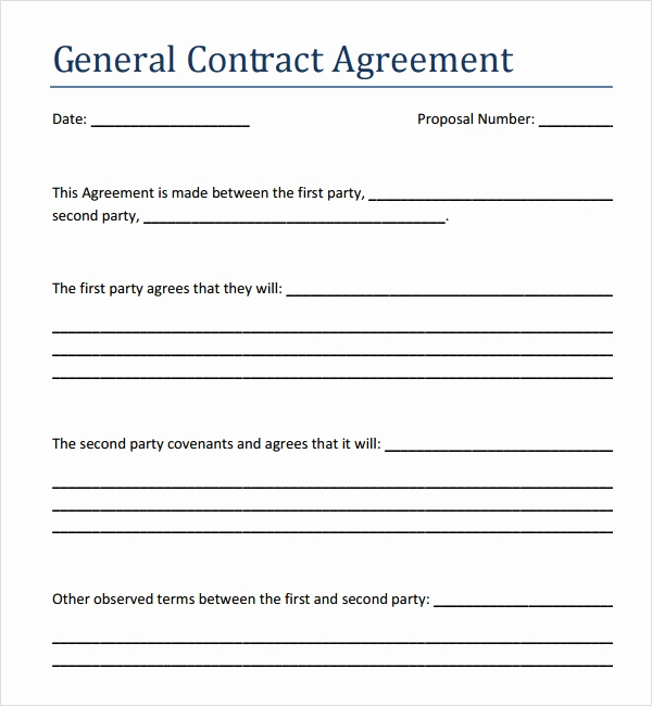 General Contractor Sample Contract Lovely Contract Agreement 7 Free Pdf Doc Download