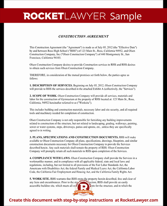 General Contractor Sample Contract Unique Construction Contract Template Construction Agreement form