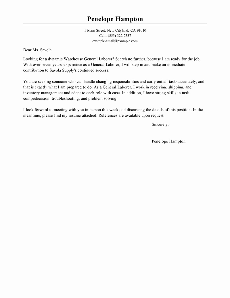 General Cover Letter Examples Best Of Leading Professional General Labor Cover Letter Examples