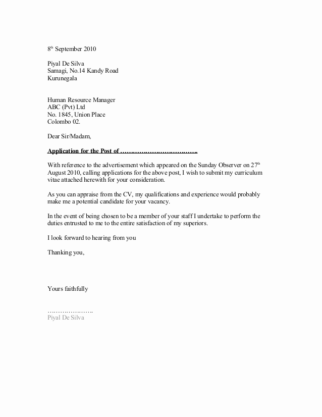General Cover Letter Examples Fresh General Cover Letter format 1