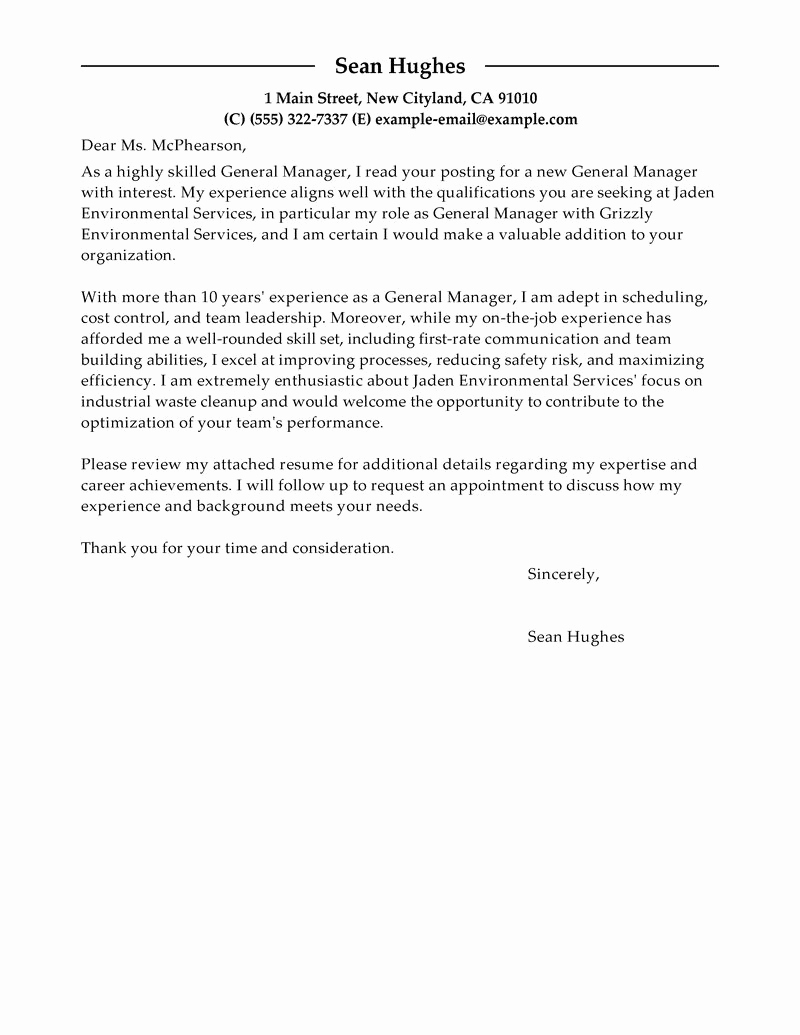 General Cover Letter Examples Fresh Leading Professional General Manager Cover Letter Examples