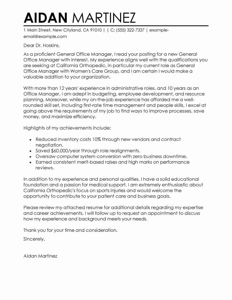 General Cover Letter Examples New Free Admin General Manager Cover Letter Examples