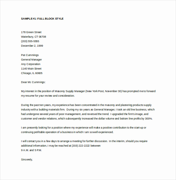 General Cover Letter Examples Unique 15 General Cover Letter Templates Free Sample Example