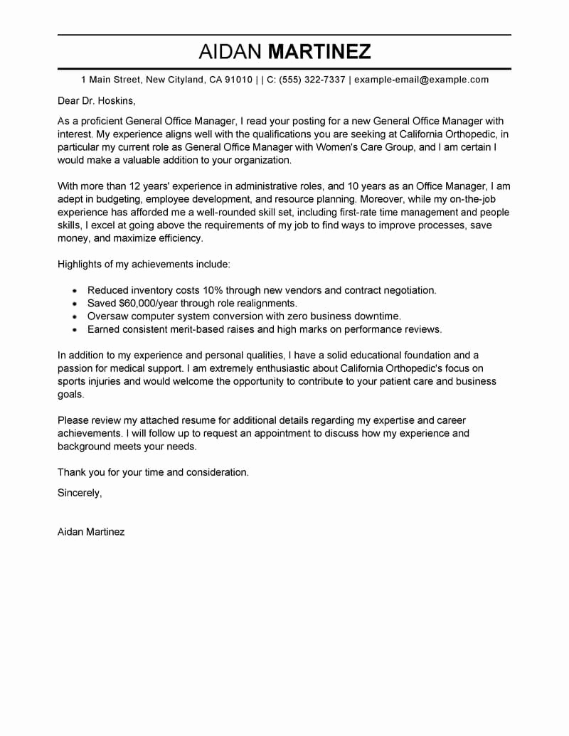 General Cover Letter Sample Best Of Best Admin General Manager Cover Letter Examples