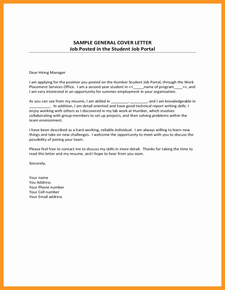 General Cover Letter Sample Best Of General Cover Letters for Employment