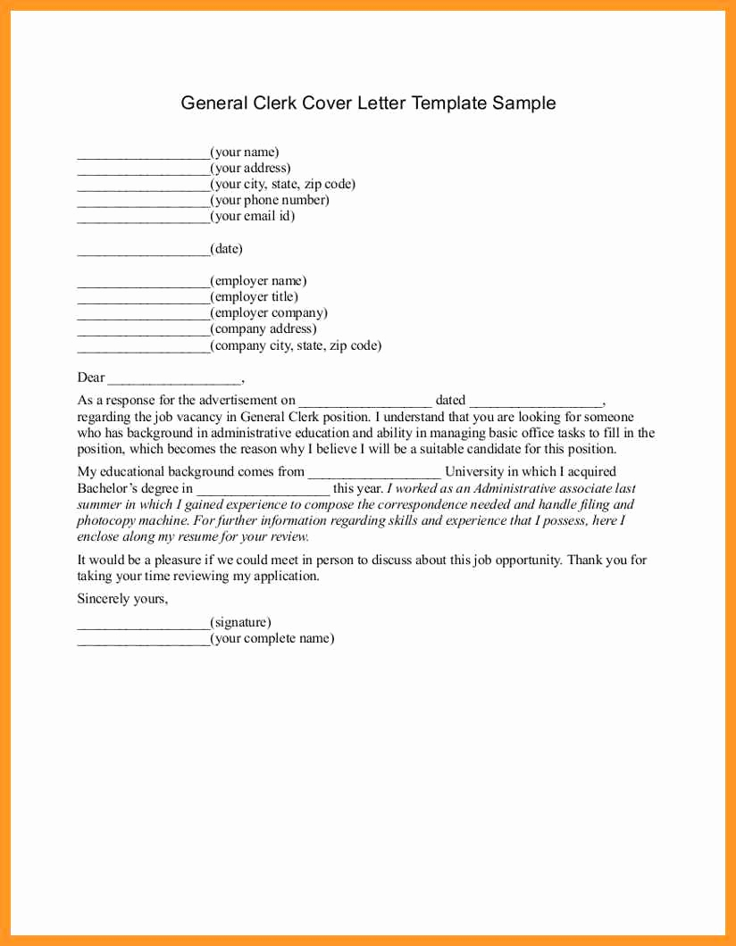 General Cover Letter Sample Elegant General Cover Letters for Employment