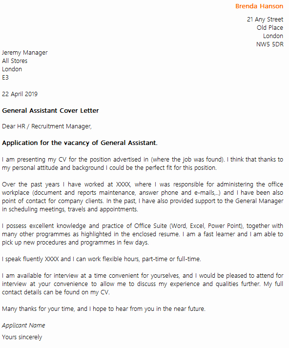 General Cover Letter Sample Lovely General assistant Cover Letter Example Icover