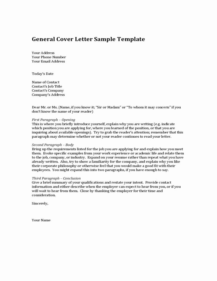 General Cover Letter Sample New General Cover Letter Sample Template