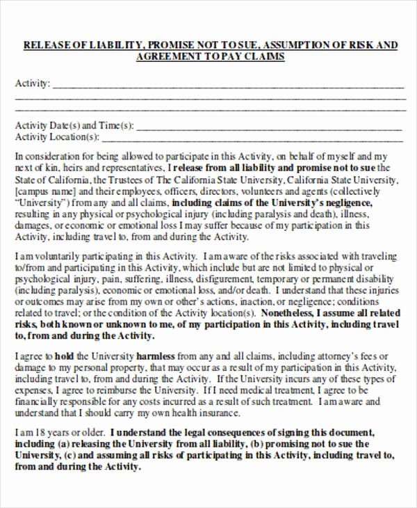General Liability Release form Beautiful General Release Of Liability form Sample 7 Examples In