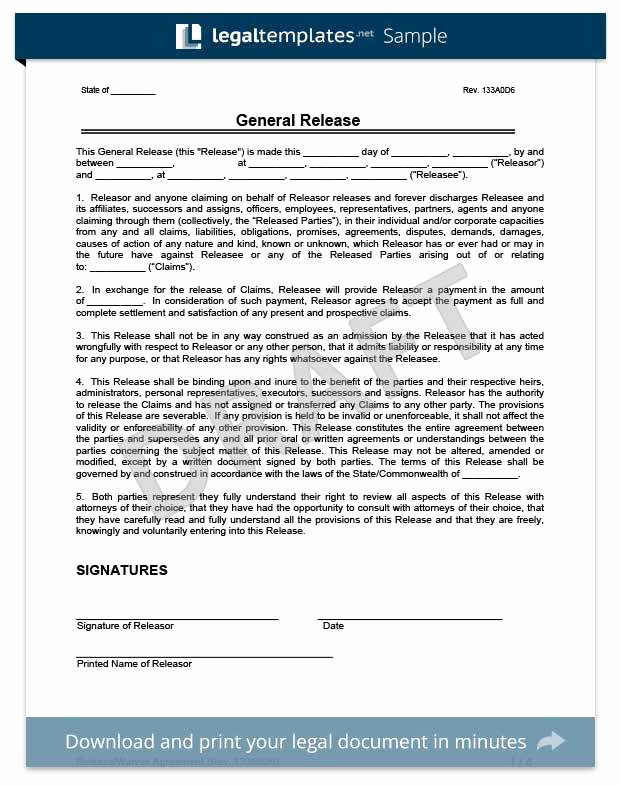 General Liability Release form Best Of General Liability Release form Image – Release Of