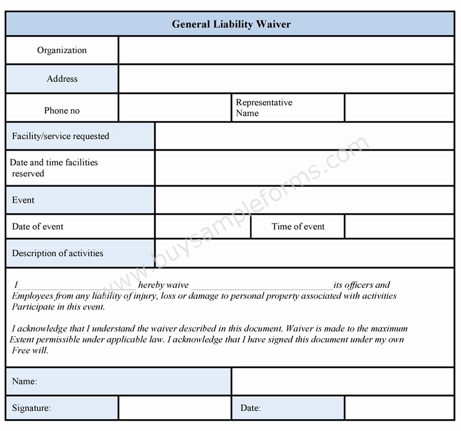 General Liability Release form Fresh General Liability Waiver form