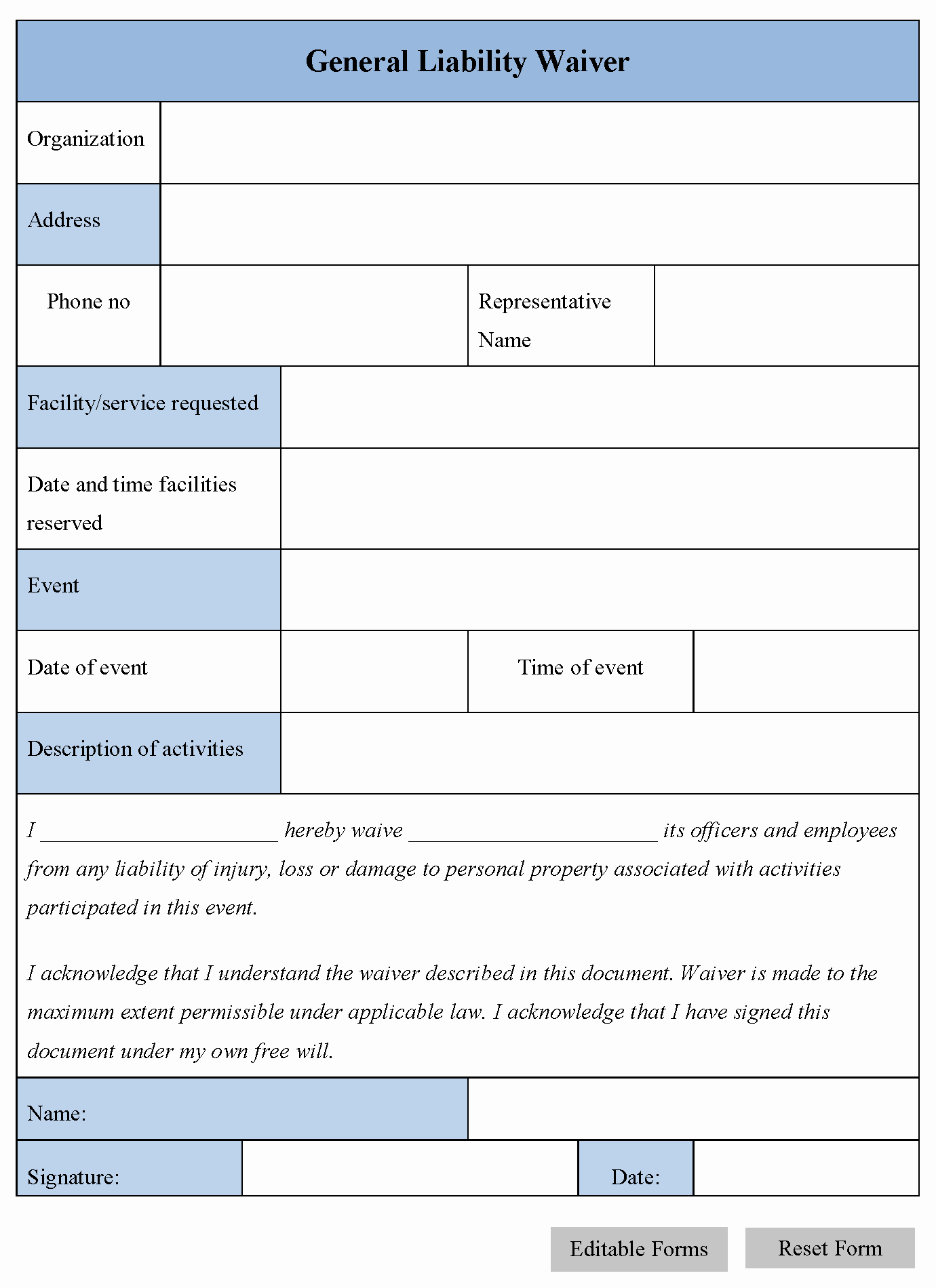 General Liability Release form Inspirational General Liability Waiver form