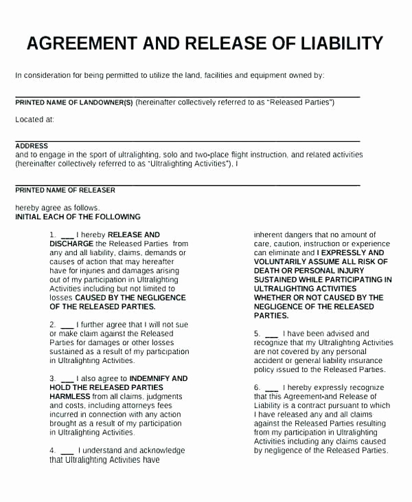 General Liability Release form Lovely 7 Sample General Liability Release forms