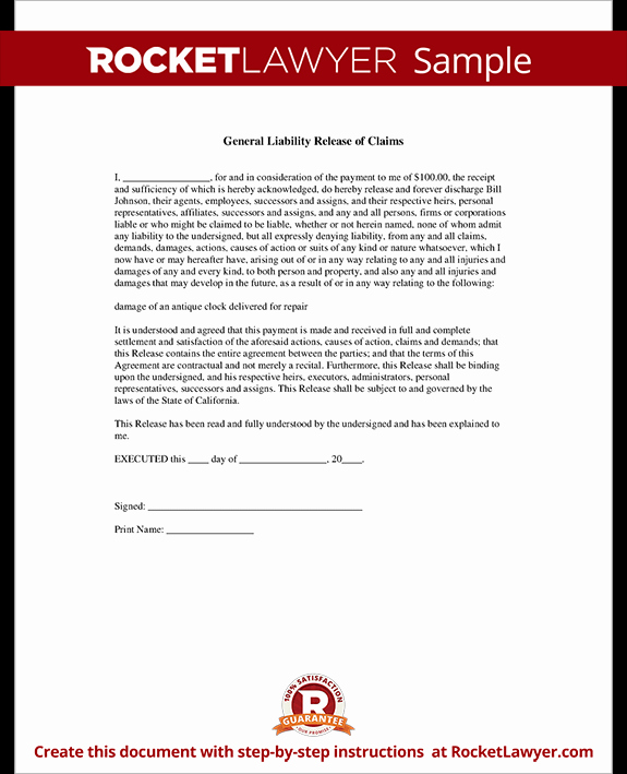 General Liability Release form Lovely General Liability Release Of Claims form