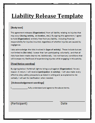General Liability Release form Lovely General Liability Release Template