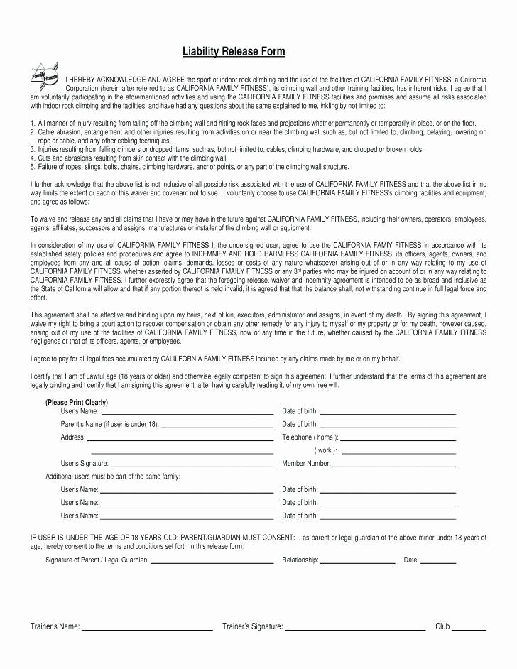 General Liability Release form Luxury General Liability Release form Image – Release Of