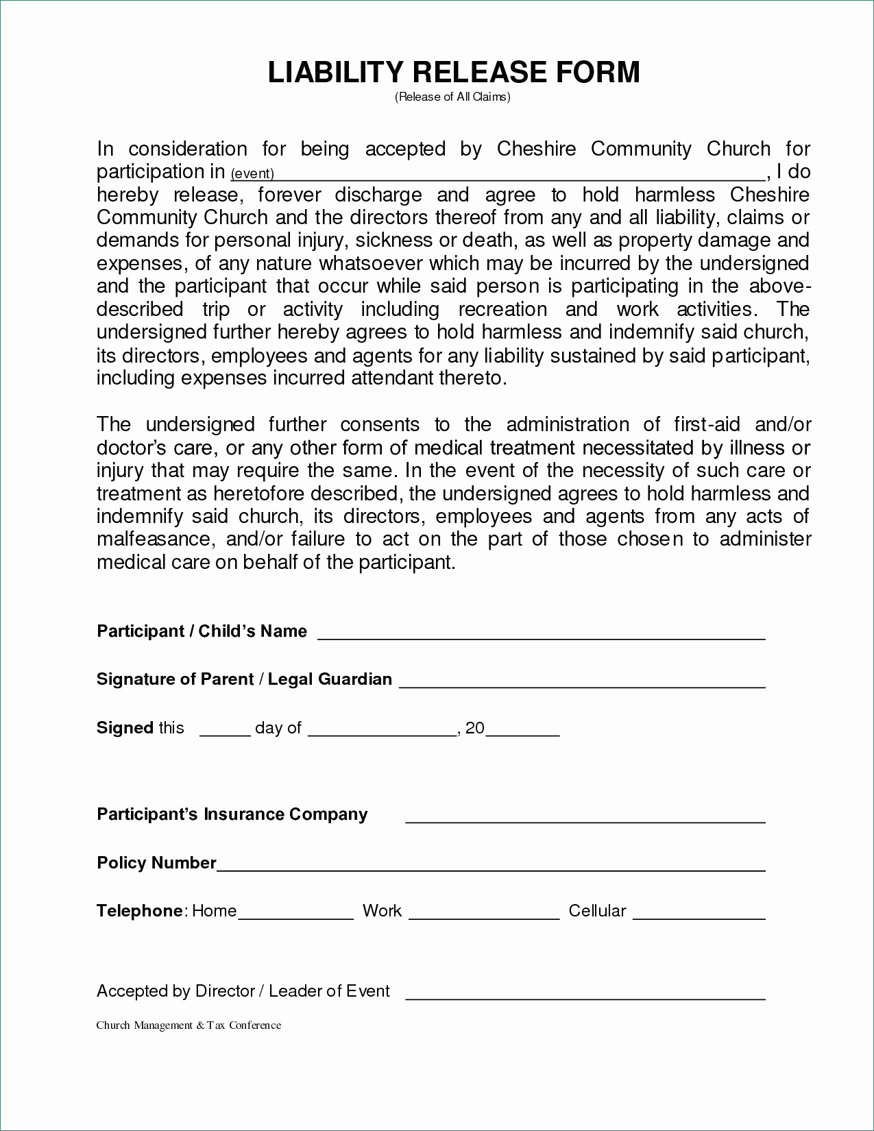 general liability release form image