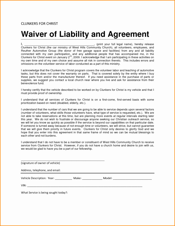 General Liability Release form Luxury General Waiver Liability form Image – Template Free