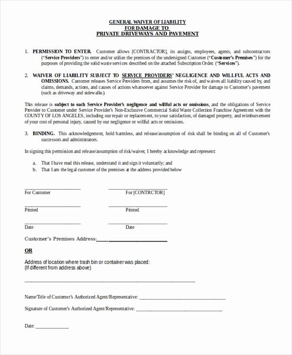 General Liability Release form Unique Sample General Liability form 10 Free Documents In Word Pdf