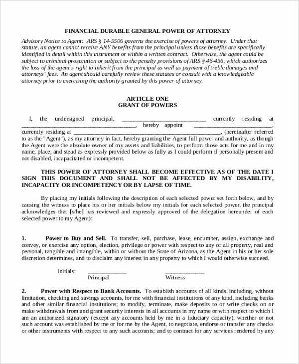 General Power Of attorney Pdf Awesome Sample General Power Of attorney 11 Free Documents In