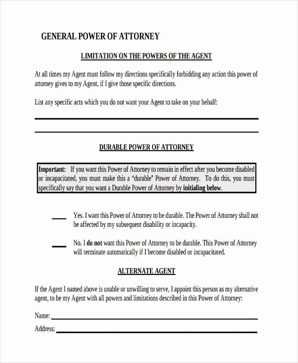 General Power Of attorney Pdf Best Of Power Of attorney forms In Pdf