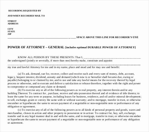 General Power Of attorney Pdf Elegant Power Of attorney Templates – 10 Free Word Pdf Documents