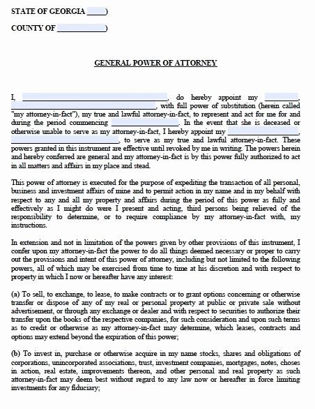 General Power Of attorney Pdf Fresh Free General Power Of attorney Georgia form – Adobe Pdf