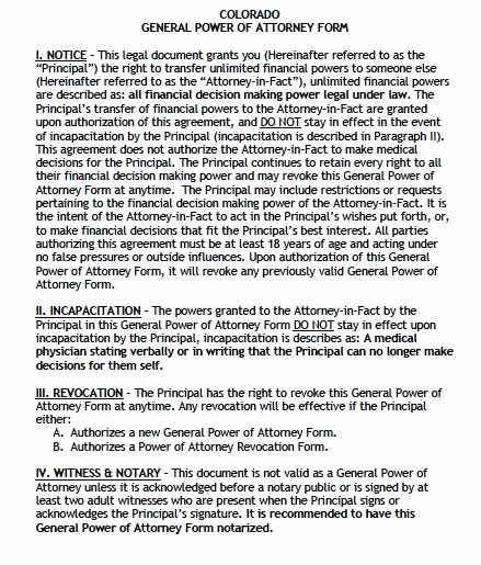 General Power Of attorney Pdf Luxury Free General Power Of attorney Colorado form – Adobe Pdf