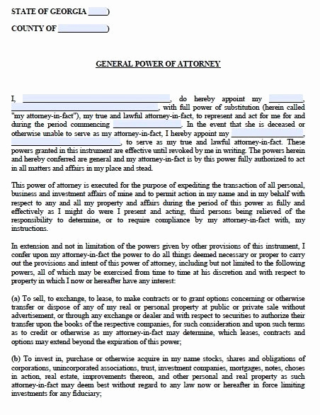 General Power Of attorney Pdf New Free General Power Of attorney Georgia form – Adobe Pdf