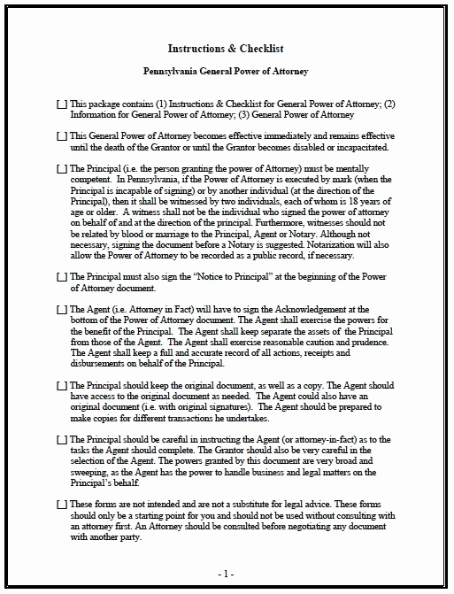 General Power Of attorney Pdf New Free General Power Of attorney Pennsylvania form – Adobe Pdf