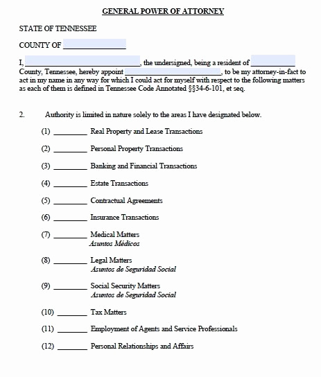 General Power Of attorney Pdf New Free General Power Of attorney Tennessee form – Adobe Pdf