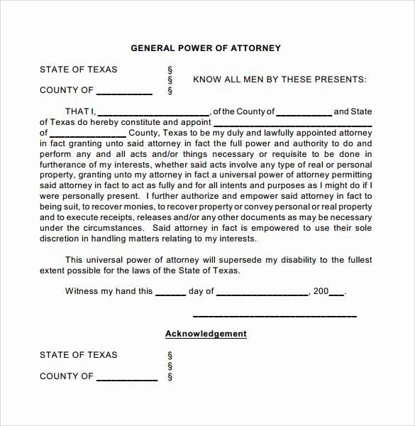 General Power Of attorney Pdf New General Power Of attorney forms 6 Free Samples