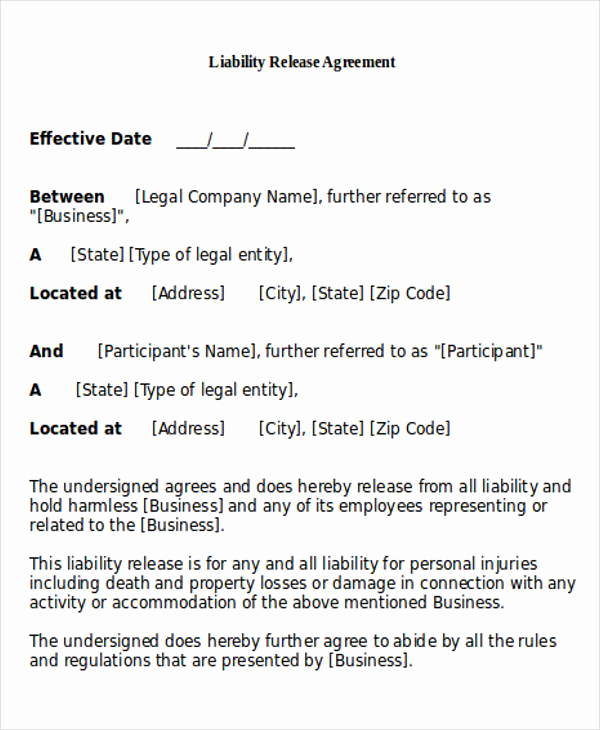 General Release Of Liability forms Beautiful General Release Of Liability form Sample 7 Examples In