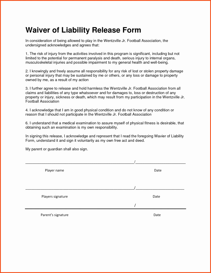 General Release Of Liability forms Best Of Contractor Liability Waiver form