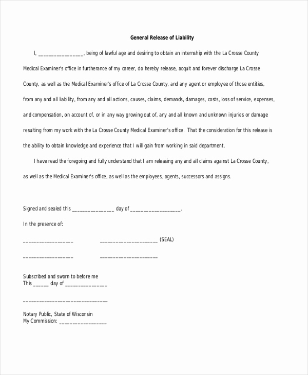 General Release Of Liability forms Inspirational Sample General Liability form 10 Free Documents In Word Pdf